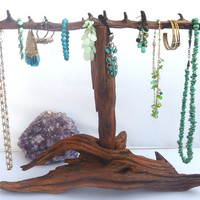 Jewelry Display,  Driftwood Bracelets Holder,  Beach Wood, Necklaces Stand, Gift Ideas Art Shows Beach WoodStand Bleached Wood