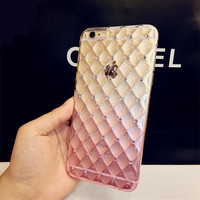 Luxury Bling Diamond Frame Transparent TPU Phone Case For Iphone 6 6S 4.7 inth Soft Silicone Protective Cover Cases