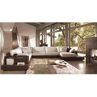 Arezzo Brown Microfiber 4-piece Sectional Sofa - Left Facing