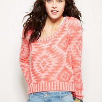 Aztec Double Knit High-Low Pullover