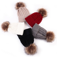 Fashion Toddle Infant Newborn Winter Warmer Baby Knitted Wool Hat Kids Warm Cap Girls Boys Knitted Hats Wool Fur Ball Caps