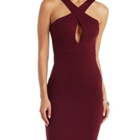Burgundy Crossover Ponte Knit Bodycon Midi Dress by Charlotte Russe