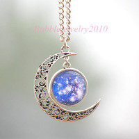 Universe Necklace,Bib Necklace,Star necklace,Moon necklace,Charm necklace,silver hollow star, galactic cosmic moon necklace