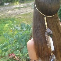 Native, American, style, Feather HeadBand, hippie headband, Boho headband, Bohemian headband, Indian headband, feather, head band