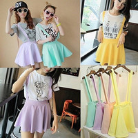 Girl Candy Color Waist Suspender Skirt Pastel Skater Flared Pleated Mini Dress WL = 1945964228