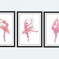 Ballerina watercolor poster Set of 3 prints Ballerina print Ballet studio decor Home decoration Child room wall art Nursery room decor S24