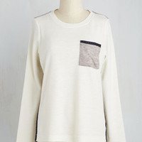 Colorblocking Mid-length Long Sleeve Home Project Planning Top