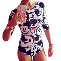 Gagaopt  Summer Sexy Bodysuits Women Half Sleeve Mouse Minie Print Cartoon Rompers Mini Sexy Playsuit Bodycon Club Jumpsuits