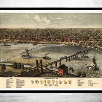 Panoramic View of Louisville, Kentucky United States 1876