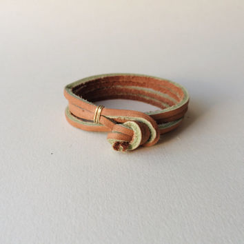 "the ""Double Double"" leather wrap bracelet - tan / simple unisex woman man womens mens men's thick minimalist rugged gold silver brown knot"