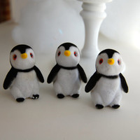 Three (3) Small Fuzzy Vintage Penguins -- Perfect for Holiday Miniatures and Crafting
