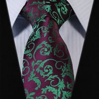 Burgundy and Green Paisley Tie