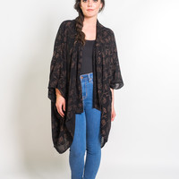 Kimono Jacket in Black & Copper Poppy Flower