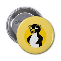 Rockhopper penguin cartoon 2 inch round button
