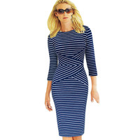 VfEmage Womens Elegant New Colorblock Striped Dot Tunic Wear To Work Business Casual Party Pencil Sheath Bodycon Dress 548