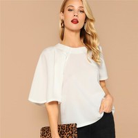 White One Side Pleated Butterfly Sleeve Top Solid Blouse Women Office Lady  Elegant Workwear Tops and Blouses