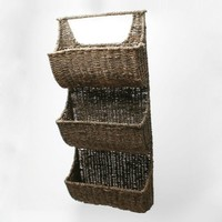 Tag Seagrass Basket, 3-Compartment 29-Inch Tall Wall Basket