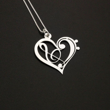 Heart Clef G clef bass clef heart Necklace silver music note Treble clef Pendant charm necklace music note necklace Sterling Silver Gift