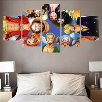 Home Decor Canvas 5 Piece Canvas Painting One Piece Characters HD Printed Animation Poster Wall Art Pictures Modern Wall Decor