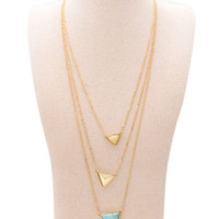 Golden Triangle Pendant Multirow Necklace