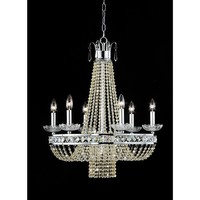 """This Euphoria Crystal Chandelier creates a glamorous sparkling pendant that complements your modern look. Made of Clear Crystal, stands W22 x H27, metal, uses 7 bulb x 60 watts (not included)type E14 and includes 40"""" chain."""