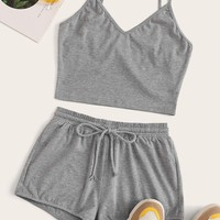 Solid Cami Top & Drawstring Waist Shorts