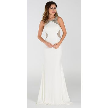 Poly USA 7192 Full Length Sexy Prom Gown White Sheath
