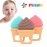 Baby Safe BPA Free Silicone Pacify Comfort Bite Teether Infants Teething Toys Ice Cream Shape Gum Teether For Dental Care