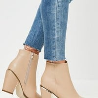 Missguided - Nude Gold Trim Block Heeled Boots