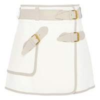 White Cotton Utility Wrap Skirt