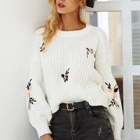 Embroidery Floral Knit Sweater