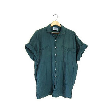 Oversized button up cotton shirt. Mexican tshirt 90s loose fit Green thin cotton Soft Pocket tshirt Basic Simple Tee shirt.