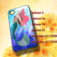 Ariel the little mermaid glitter Hard plastic and Rubber case iphone 4/4s,5/5s,5c,Samsung S3 i9300,S4 i9500