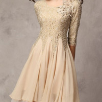 Khaki Lace Chiffon Mini Dress