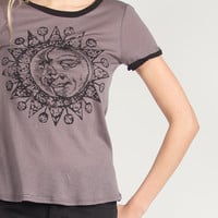 Half Moon and Sun Graphic Tee - Charcoal - Medium