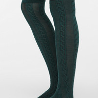 Two-Tone Cable Knit Over-The-Knee Sock