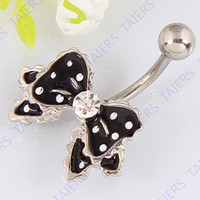 Belly button ring Bow fashion body piercing jewelry Retail navel ring