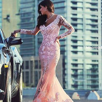 2017 Fashion Gala Gowns Sexy Long Sleeve V Neck Appliques Lace Mermaid Fitted Pink Tulle Arabic Evening Dresses Long Prom Gowns