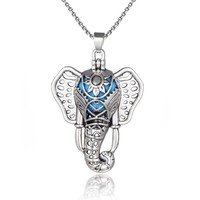 Antique Style Silver Boho Elephant Aromatherapy Essential Oil Diffuser Necklace Lava Bead Locket Pendant