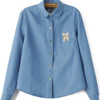 Denim Long Sleeve Pointed Flat Collar Blouse with Pocket Cat Embroidery