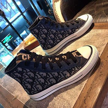 DIOR new letter high-top shoes women's thick-soled all-match student board shoes casual canvas single shoes Black