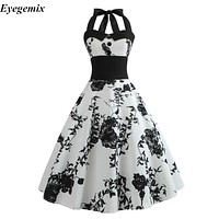 Summer Dress 2018 Casual Floral 50s 60s Retro Vintage Dress Women Robe Rockabilly Swing Pinup Vestido Sexy Elegant Party Dresses