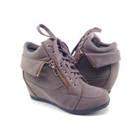 Taupe Suede Sneaker with Wedge and Zipper Detail