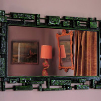 Mid Century Modern Wall Mirror Large Rectangle Black with Absinthe Green Dart 1974