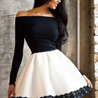 Black and White Off Shoulder Lace Stitching Mini Dress