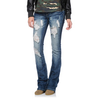 Almost Famous Freya Destressed Medium Wash Bootcut Jeans at Zumiez : PDP