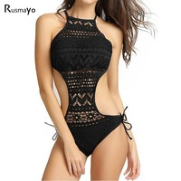Black One piece Swimsuit Female Mesh Trikini Monokini Swimwear Women Bikini Swim Bathing Suit High Neck 1 One-Piece Bodysuit 04