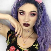 Long Lavender Dawn Purple Sprinkles Curly Synthetic Lace Front Wig