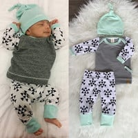 Infant Baby Girls Boys Kids Clothes Long sleeve T-Shirt Tops+Pants Hat 3pcs Outfits Set Gray