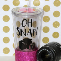 Oh Snap - Camera - Photographer // Glitter Tumbler